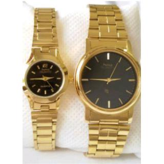 HMT Black Quartz Couple Watches