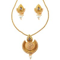 Kriaa Gold Plated Gold Alloy Necklace Set For Women