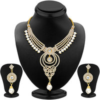 Sikka Jewels Silver Plated Gold Alloy Necklace Set For Women
