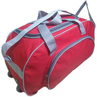 Caris Red  Grey 22 Inch Polyester Wheeler Bag