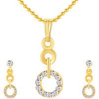 Sikka Jewels Ritzzy Gold Plated Australian Diamond Pendant Set