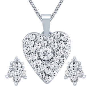 Sikka Silver Plated Austrian Diamond White Pendants Chains For Women