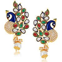 Sukkhi Gold Plated Austrian Diamond Multi Dangle Earrings For Women