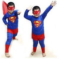 Superman Costume Fancy Dress Up Outfit Suit Mask Children (Medium Size)