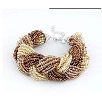 Fayon Chic Stylish Brown and Cream Beaded Intertwining Cuff Bracelet