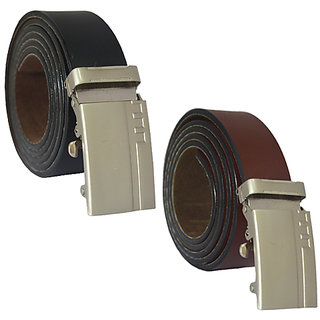 Sunshopping mix of Leatherite black and brown auto lock buckle belt combo belt (Pack of two)