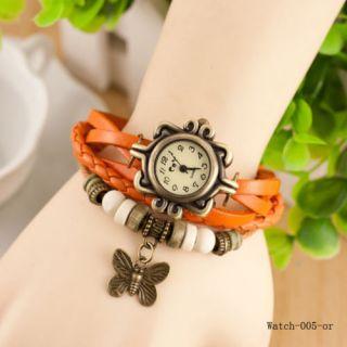 Women Bracelet Watch Leather Women's Wrist Watch Ladies Watch Butterfly Orange