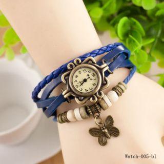 Women Bracelet Watch Leather Women's Wrist Watch Ladies Watch Butterfly Blue