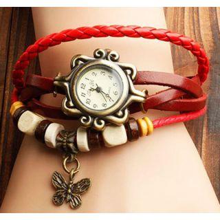 Women Bracelet Watch Leather Women's Wrist Watch Ladies Watch Butterfly Red