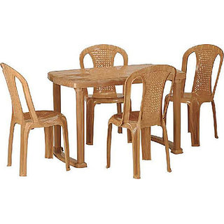 NILKAMAL SHAHENSHAH DINING TABLE WITH CHAIR 4002 PEAR WOOD Available At ShopC