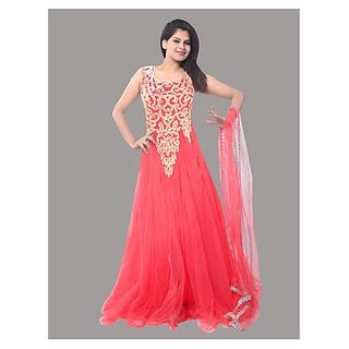 Ethnic Basket Pink Embroidered Net Gown
