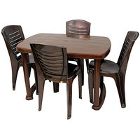NILKAMAL SHAHENSHAH DINING TABLE WITH CHAIR 4025 - WEATHER BROWN