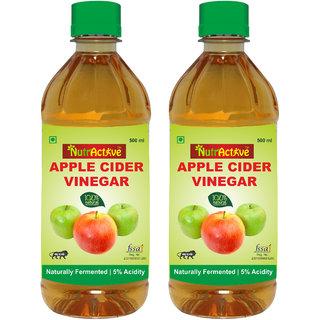 NutrActive Filtered Apple Cider Vinegar 100 Natural Ideal for salad Dressing 1000 ml Pack of 2