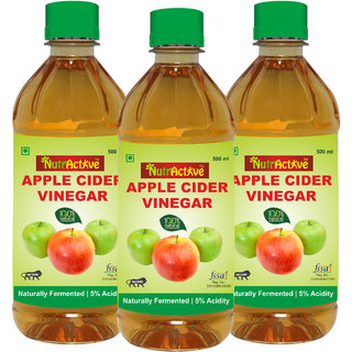 NutrActive Filtered Apple Cider Vinegar 100 Natural Ideal for Salad Dressing 1500 ml Pack of 3