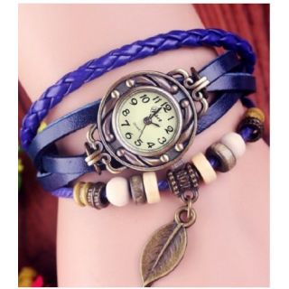Vintage Retro Beaded Bracelet Leather Women Wrist Watch Leaf Blue