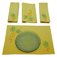 Sriam Yellow Grapevine Set Of 4 Table Mats