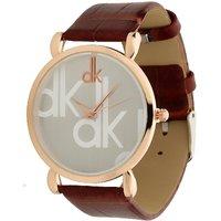 M K Retail DK Rose Gold White Dial Brown Belt Analog Watch For Men