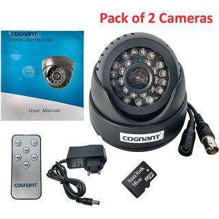 Cognant TV-OUT BNC CCTV Camera With 16GB Memory Card (Pack of 2)