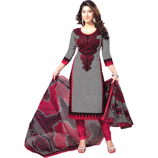 Ethnic Basket Black and White Printed Crepe Unstitched Dress Material