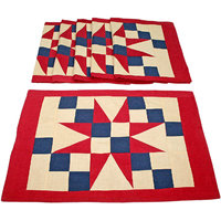 Sriam Red & Blue Courtyard Set Of 6 Table Mats