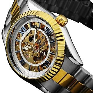 Stainless Steel Men's Unique Style Steel Strap Auto-Mechanical Watch In Gold