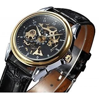 Classy Style Men's Stainless Steel Black Leather Strap Auto-Mechanical Watch
