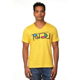 Nirvana Mens Nerd Yellow Round Neck Half Sleeves Cotton Tshirt