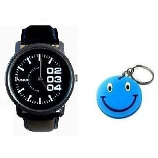 Fusion Unisex  Watch Stylish Black Dial Stainless Steel With FreeSmiley KeyChain - 4798452