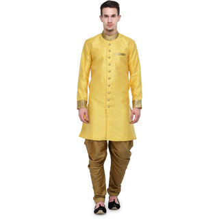 RG Designers Yellow And Gold Plain Sherwani For Men