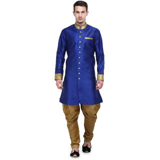 RG Designers Royal Blue And Gold Plain Sherwani For Men