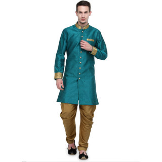 RG Designers Rama And Gold Plain Sherwani For Men