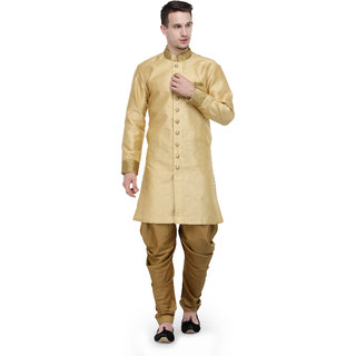 RG Designers Beige And Gold Plain Sherwani For Men