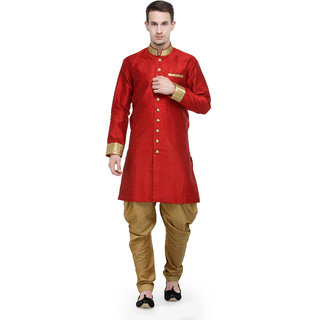 RG Designers Red And Gold Plain Sherwani For Men