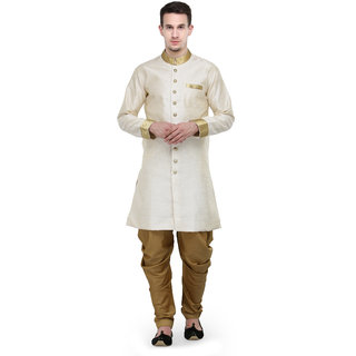 RG Designers Cream And Gold Plain Sherwani For Men