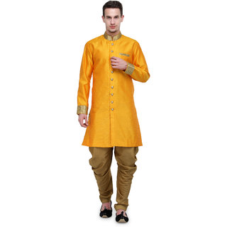 RG Designers Gold Plain Sherwani For Men