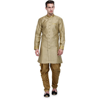 RG Designers Khaki And Gold Plain Sherwani For Men