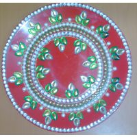 Decorative Pooja Thali With Kundan Stone Work Based On Melamine (Red)