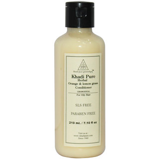 Khadi Pure Herbal Orange Lemongrass Hair Conditioner SLS-Paraben Free - 210ml