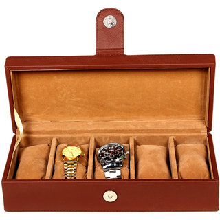 Leather World Brown PU Leather Watch Box Case for 5 Watches (Transparent Lid)