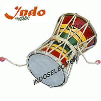 Indo Wooden Damroo With Leather Head
