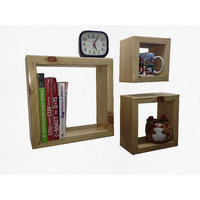 Alpha Square Shelves (Set Of 3) In Solid Wood - Natural Finish