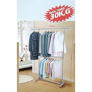 Cloth Double Pole hanger, STAND , Stainless steel Large