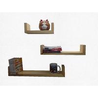 Alpha U Shelves (set Of 3) In Solid Wood-Natural Finish