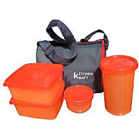 Kitchen Kraft Lunch Box With 4 Pcs. Food Grade Containers And Insulated Bag