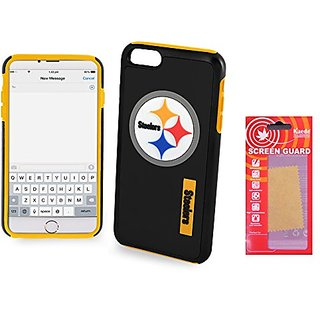 [IPHONE 6  6s] Forever Collectibles - Licensed NFL Impact Dual Hybrid Cell Phone Case for Iphone 6  6s with Kaede [Screen Guard] Protector- Retail Packaging - Pittsburgh Steelers