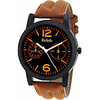 Relish Round Dial Brown Leather Strap Men Quartz Watch for Men
