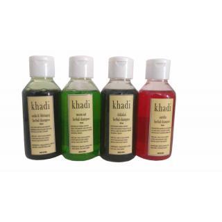 Khadi Dhamaka Offer - Herbal Shampoos - Shikakai, Satritha, Neem Sat, Amla Bringraj (pack of 4 Shampoos) (100 ML each)