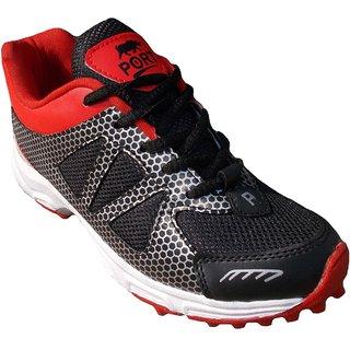 Port Mens Saxon Red Black Pvc Rubber Stud Cricket Shoes