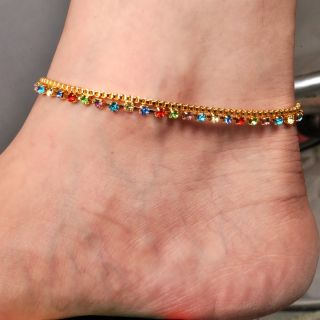Beautiful Multicolor Pair Of Anklet By Sparkling Jewellery