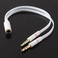 3.5mm Headphone Mic Audio Y Splitter Cable Female to Dual Male Converter